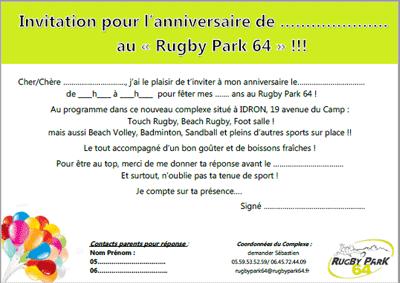 Rugbypark64 Anniversaire Sportif Pour Enfants Adultes Au Rugby